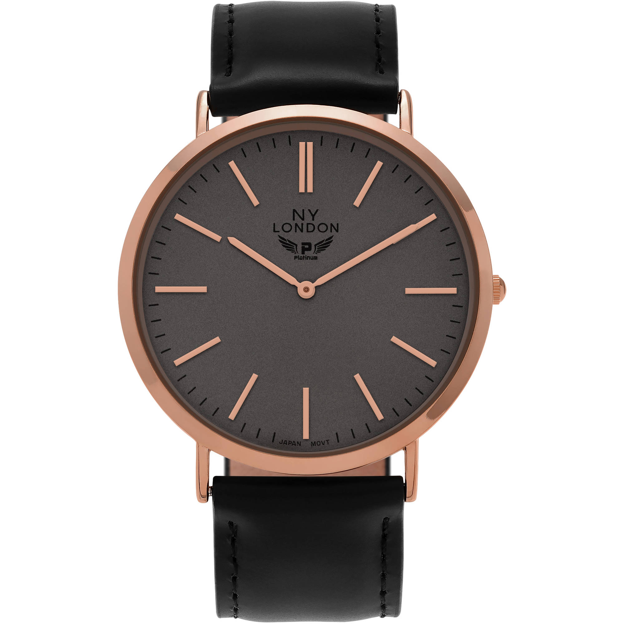 Image of Aktion Men's Faux Leather Round Face Tachymeter Strap Fashion Watch, Black/Rose Gold