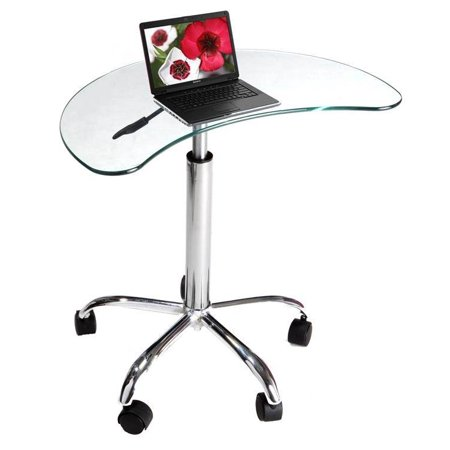 Small Laptop Utility Desk with Glass Top and Casters