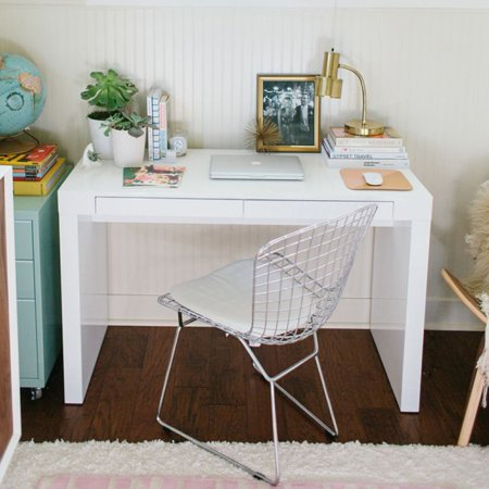 Style Lacquer - Euro Style Donald 47 in. Desk - White Lacquer