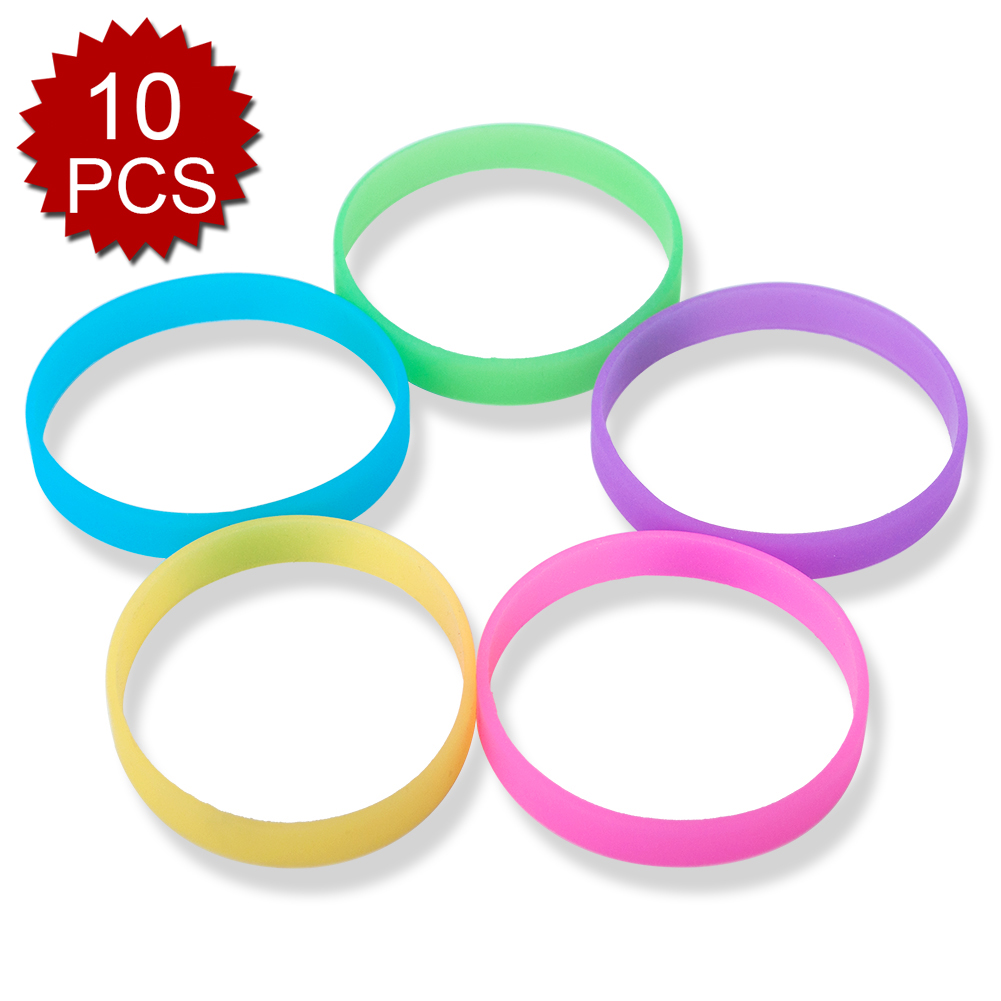 GOGO 10 Pcs Glow-in-the-dark Silicone Wristbands, Rubber Bracelets, Party Favors