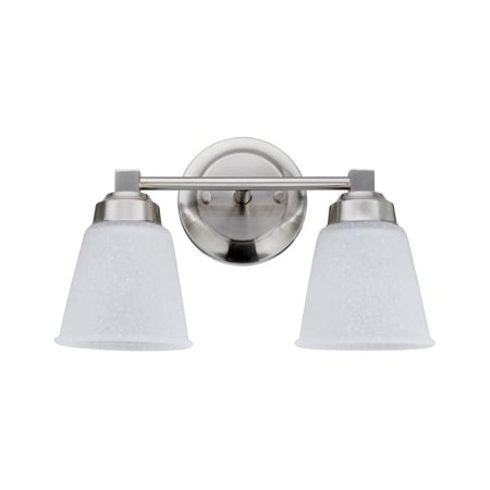 "Aspen Creative 62069-1, Two-Light Metal Bathroom Vanity Wall Light Fixture, 13 1/8"" Wide, Transitional Design in Satin Nickel with Clear Etched Glass Glass Shade"