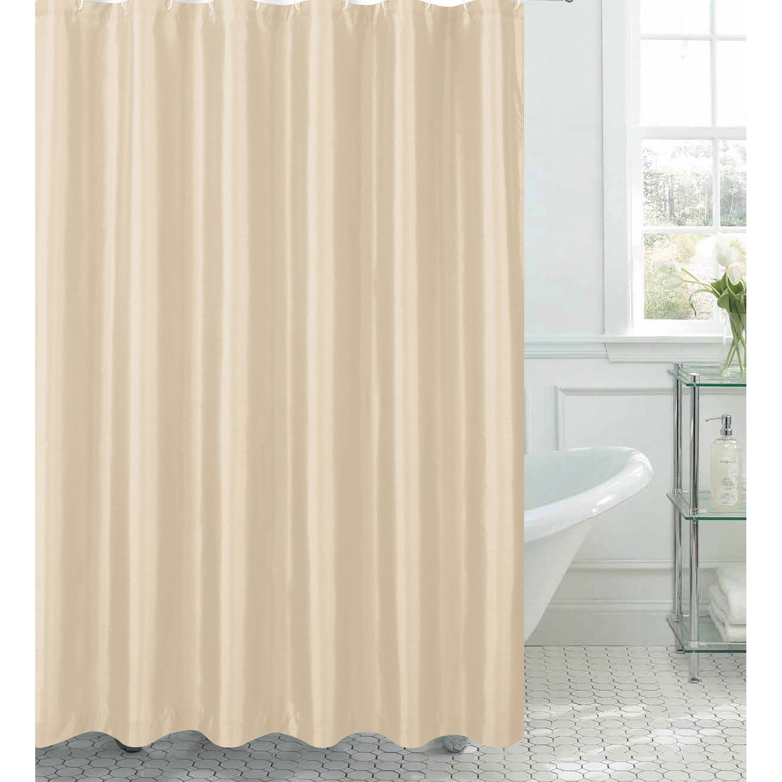 Jane Faux Silk Shower Curtain with 12 Metal Rings