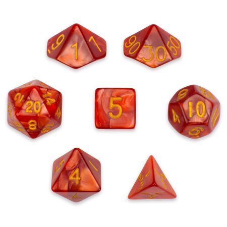 Pearl Pouch - 7 Die Polyhedral Dice Set - Dragon Scales (Red Pearl) with Velvet Pouch by, A full set of 7 polyhedral dice. Basic adventurer's equpiment! By Wiz Dice