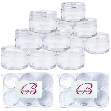 Beauticom 12 Pieces High Quality 20 Gram 20 ml (0.7 oz) Clear Round Acrylic Cosmetic Product Sample Travel Jars with Clear Lids