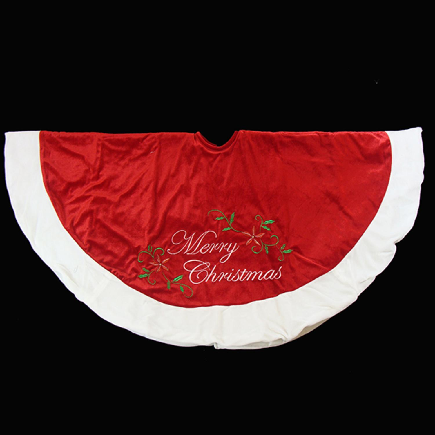"48"" Red Plush Merry Christmas Poinsettia Embroidered Tree Skirt with White Trim"