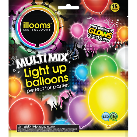 Illooms Latex Light-Up Balloons, Assorted, 9in, 15ct - Light Bulb Balloon