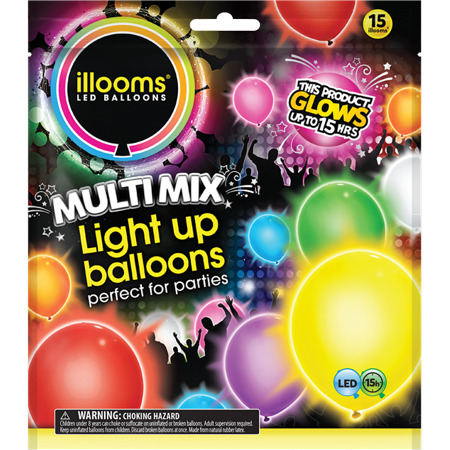 Illooms Latex Light-Up Balloons, Assorted, 9in, 15ct](Balloon Drum)