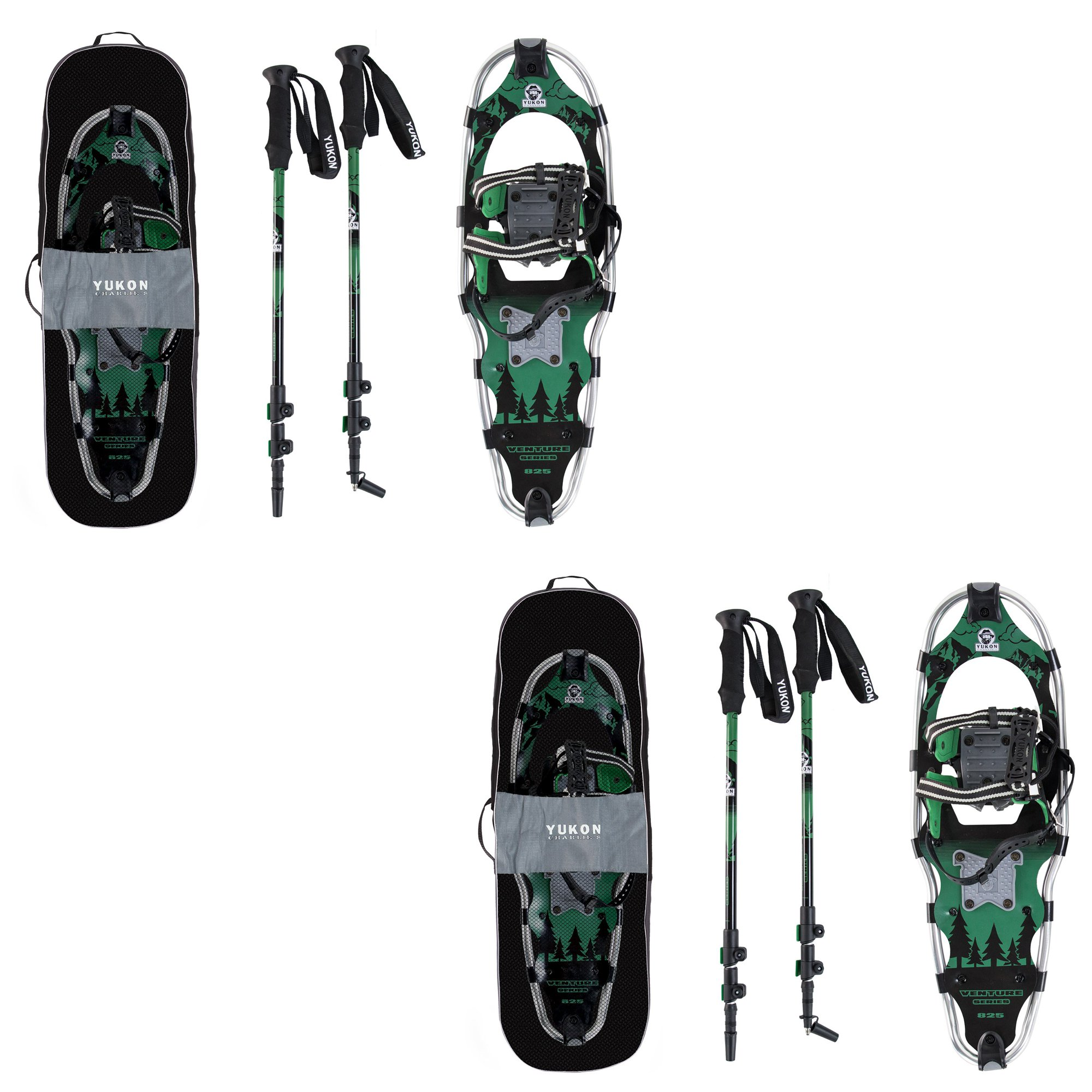 Yukon Charlie's Advanced 9x30 Inch Snowshoe Kit w  Aluminum Poles & Bag (2 Pack) by Yukon Charlie's