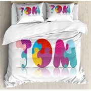 Tom Queen Size Duvet Cover Set, Children Newborn Themed Colorful Boy Name Design Abstract Educational Puzzle Pattern, Decorative 3 Piece Bedding Set with 2 Pillow Shams, Multicolor, by Ambesonne