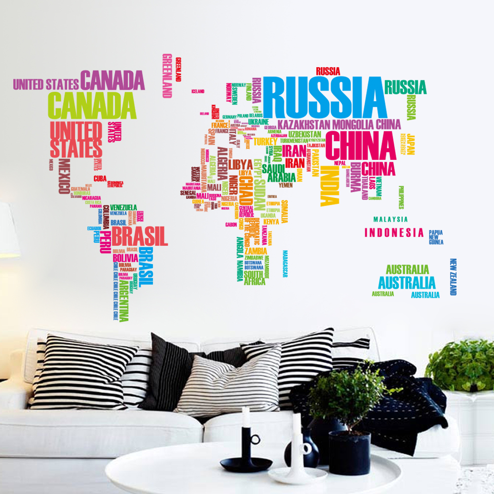 DIY Wall Sticker Removable World Map Colorful USA Letters Country Name Art Decal Home Decor Durable for Nursery Children Mural Living Dining Room Televsion Walls