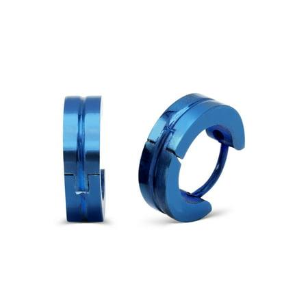 Huggie Hoop Earrings Stainless Steel Fashion Jewelry Fancy Blue Design Hoop Earring Men - Blue Jewelry