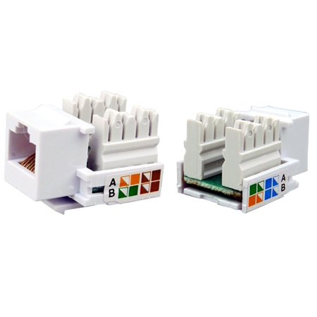 25 Pcs lot Keystone Jack Cat5e White Network Ethernet 110 Punchdown 8P8C RJ45 (Cat5e Keystone Jack)