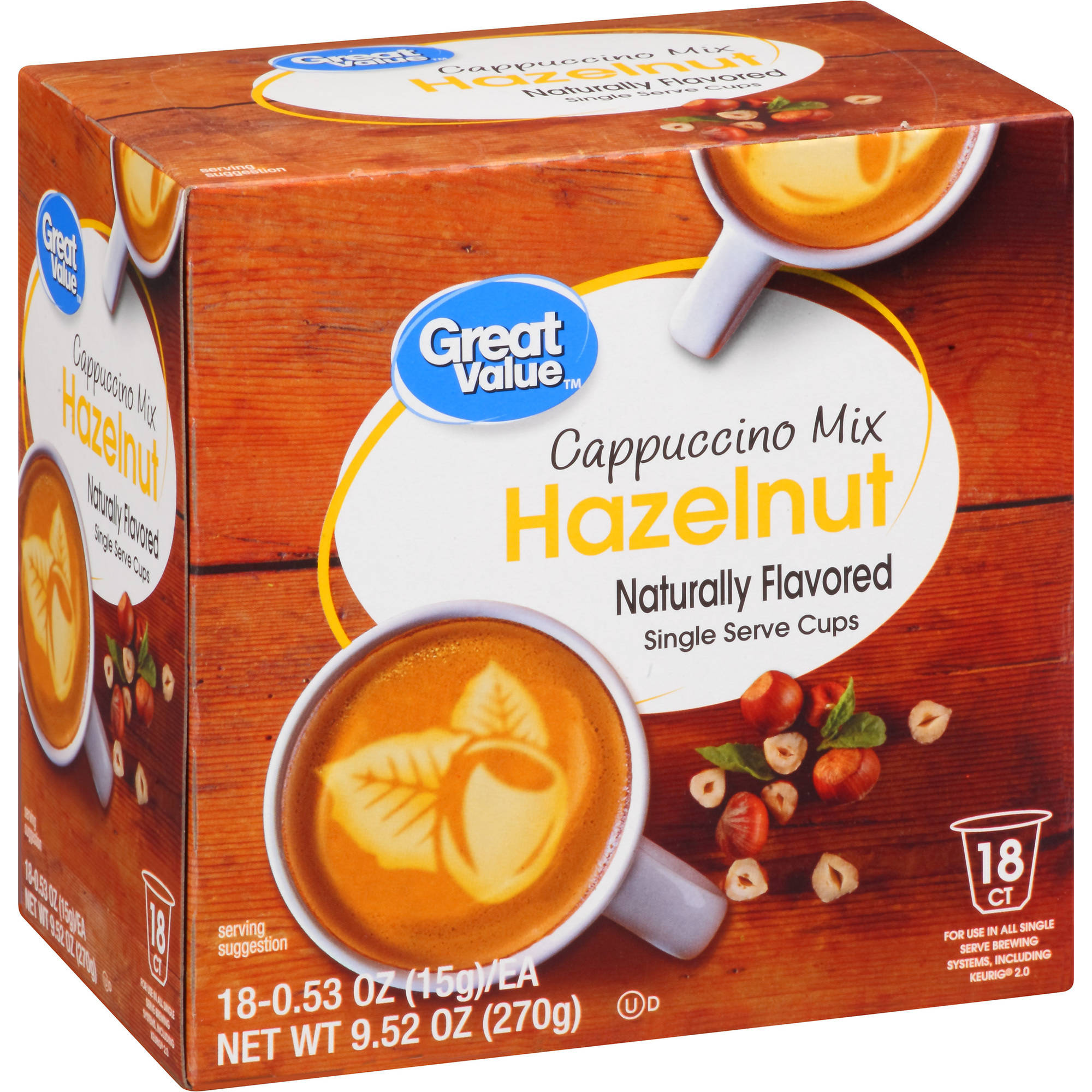 Great Value Hazelnut Cappuccino Mix Naturally Flavored