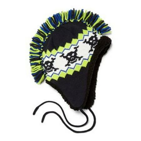 Arizona Boys Green Black Mohawk Hat Fringe Skull Aviator Trapper