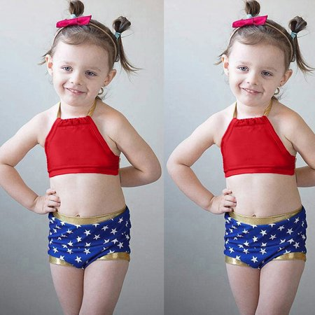 Iuhan Infant Kids Baby Girls Swimwear Star Straps Swimsuit Bathing Bikini Set Beach