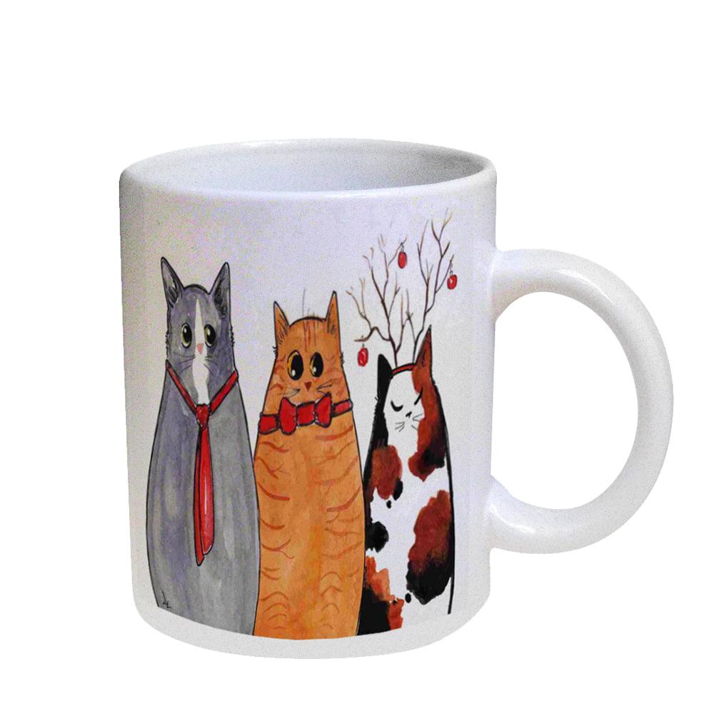 KuzmarK Coffee Cup Mug Pearl Iridescent White - Three Christmas Kitties Cat Art by Denise Every