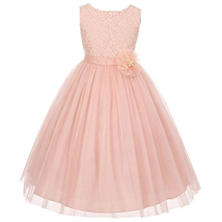 Flower Girl Dress Pearl Flower Floral Pattern Soft Tulle for Big Girl Blush 10 MBK.346 - Dress For Girl