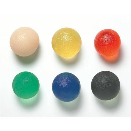 CanDo gel hand exercise ball, small, 6 pc set (1 ea: tan through black) - Hand Balls