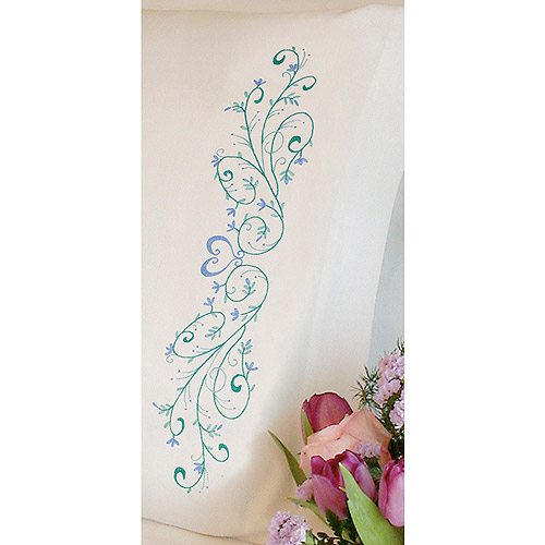 """Dimensions Filigree Scroll Pillowcase Pair Stamped Embroidery, 20"""" x 30"""""""