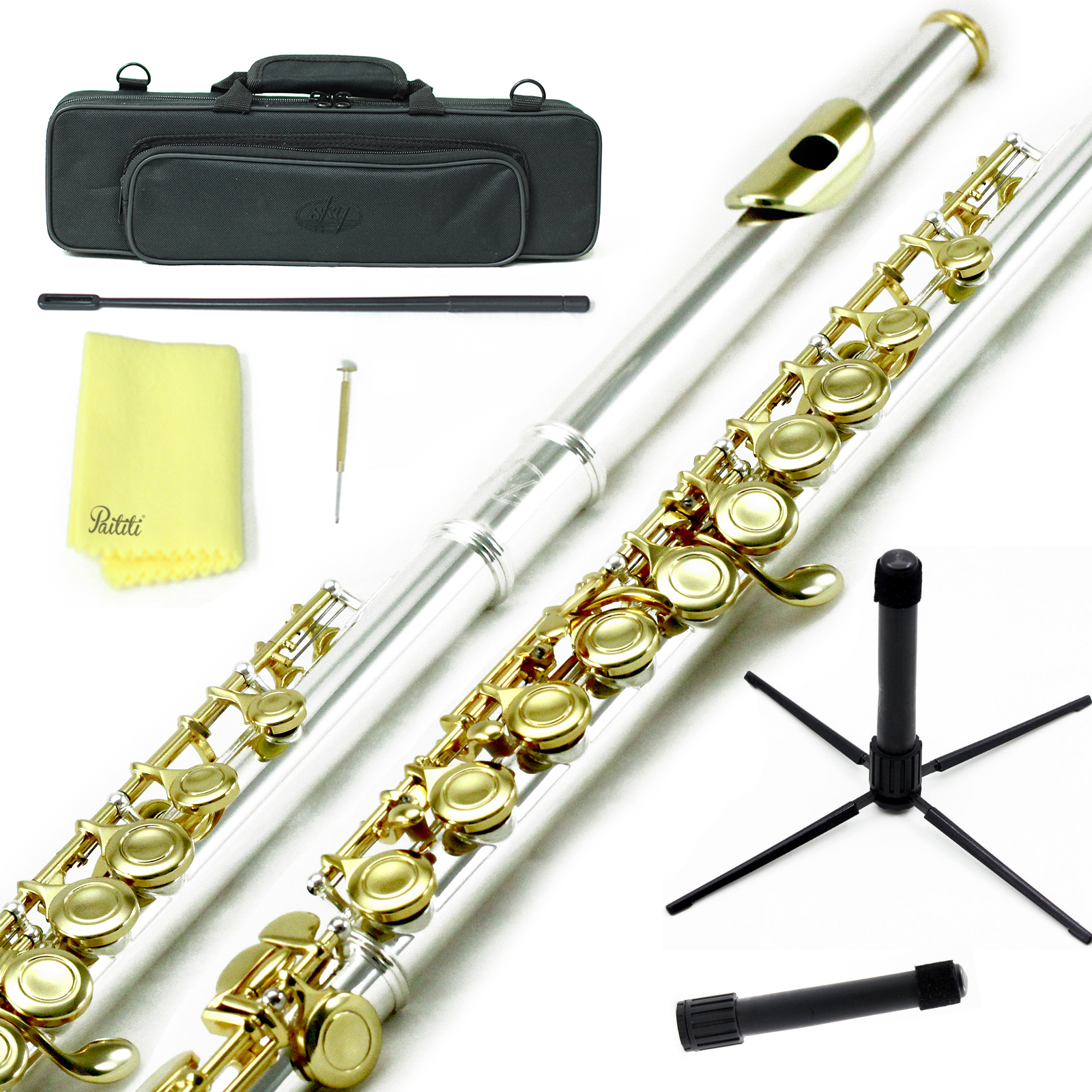 Sky Closed Hole C Flute with Lightweight Case, Cleaning Rod, Cloth, Joint Grease and Screw Driver - Silver Gold