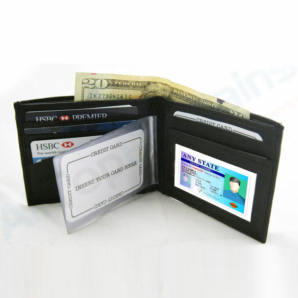 RFID Wallet Leather Black Blocking Bi-Fold Data Safe New Men Holder Case Card !!