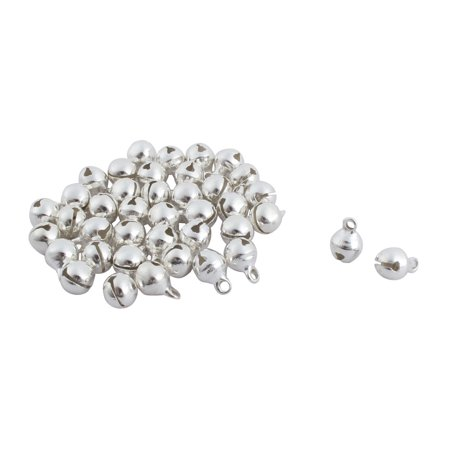 Christmas Metal Jingle Bell Beads Jewellery Decor Silver Tone 6mm Dia 40pcs (Silver Tone Pewter Bell)