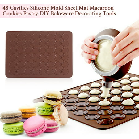 Silicone Bakeware Range - Dilwe 48 Cavities Silicone Mold Sheet Mat Macaroon Cookies Pastry DIY Bakeware Decorating Tools, Macaroon Mold, Silicone Bakeware Mat