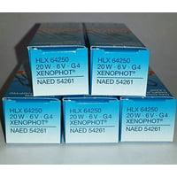 5 Pack: Sylvania FHE / ESB 64250 HLX 6V 20W G4 Bipin Halogen Light Bulb, 6V 20W Halogen Light Bulb By Osram