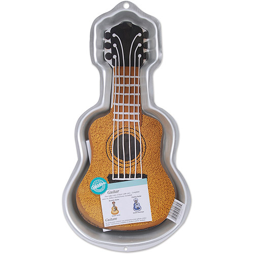 "Wilton Novelty 16.5""x8.5"" Shaped Cake Pan, Guitar 2105-570"