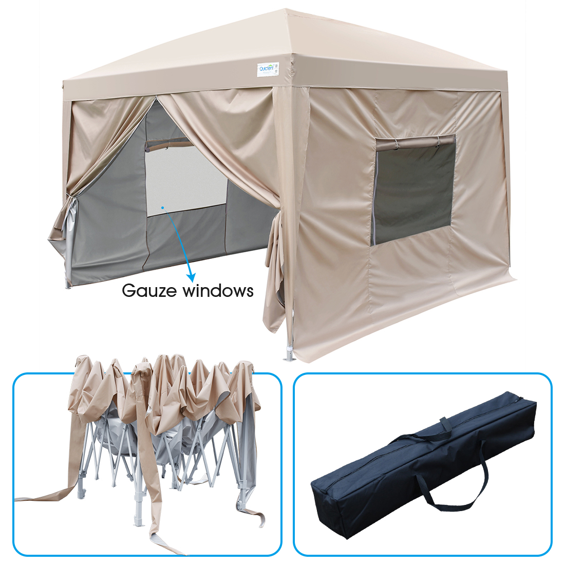 Upgraded Quictent 8x8 EZ Pop Up Canopy Gazebo Party Tent with Mesh Windows and Sidewalls 100% Waterproof-9 Colors (Beige)