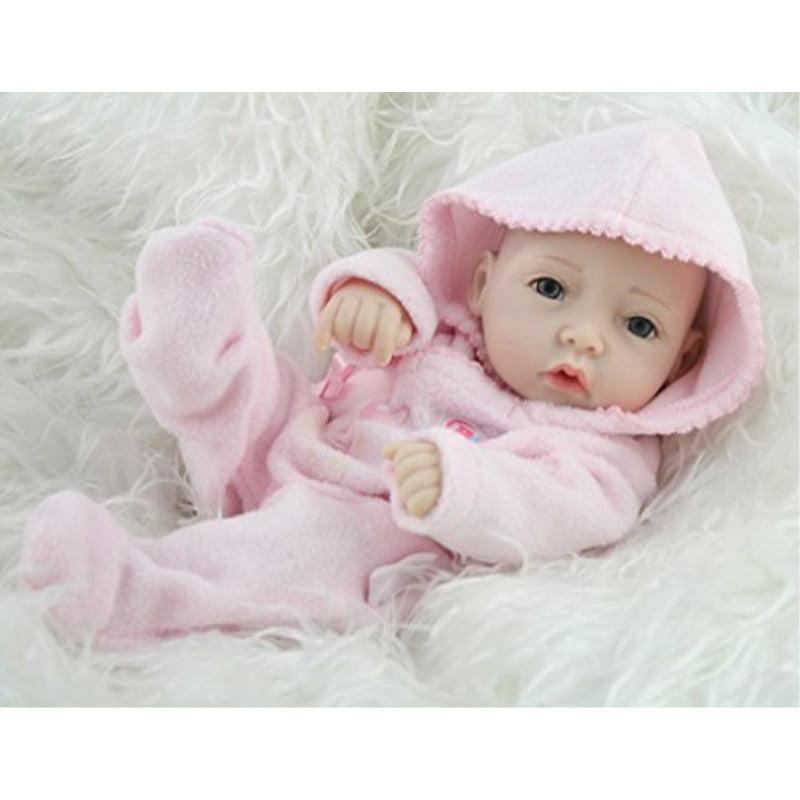 Mini Reborn Doll Girls Silicone Full Body Realistic Preemie Pink Dress Toy 10in