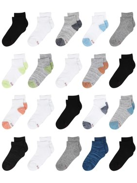 Hanes Boys Socks, 20 Pack Ankle Super Value Socks Sizes S - L