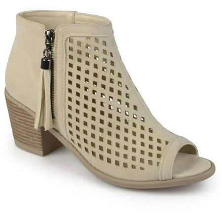 Womens Laser Cut Faux Leather Tassle -