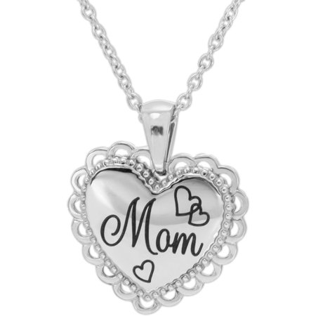 Connections From Hallmark Stainless Steel Mom Heart Pendant  18  With 2  Extender Chain