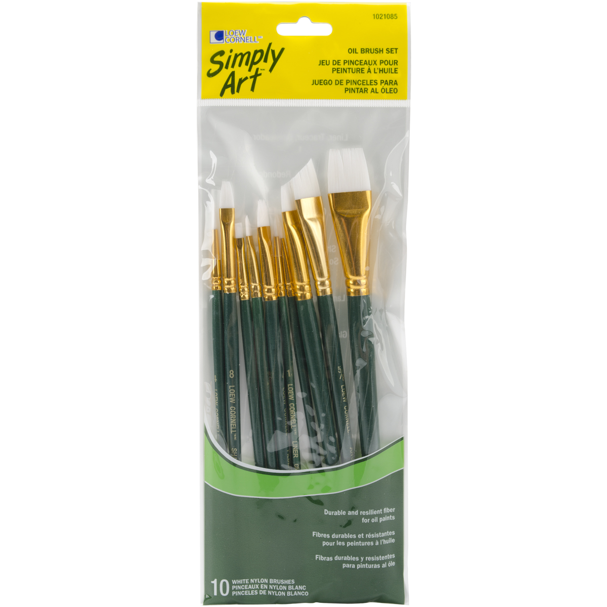 Loew-Cornell Simply Art White Nylon Brush Set, 10-Pack