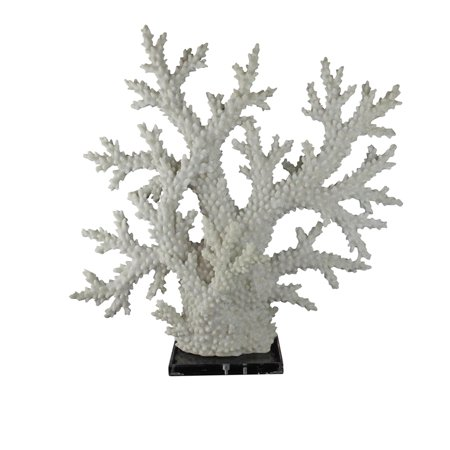 Polyresin Base - Stylish Polyresin Coral Sculpture With Acrylic Base, White