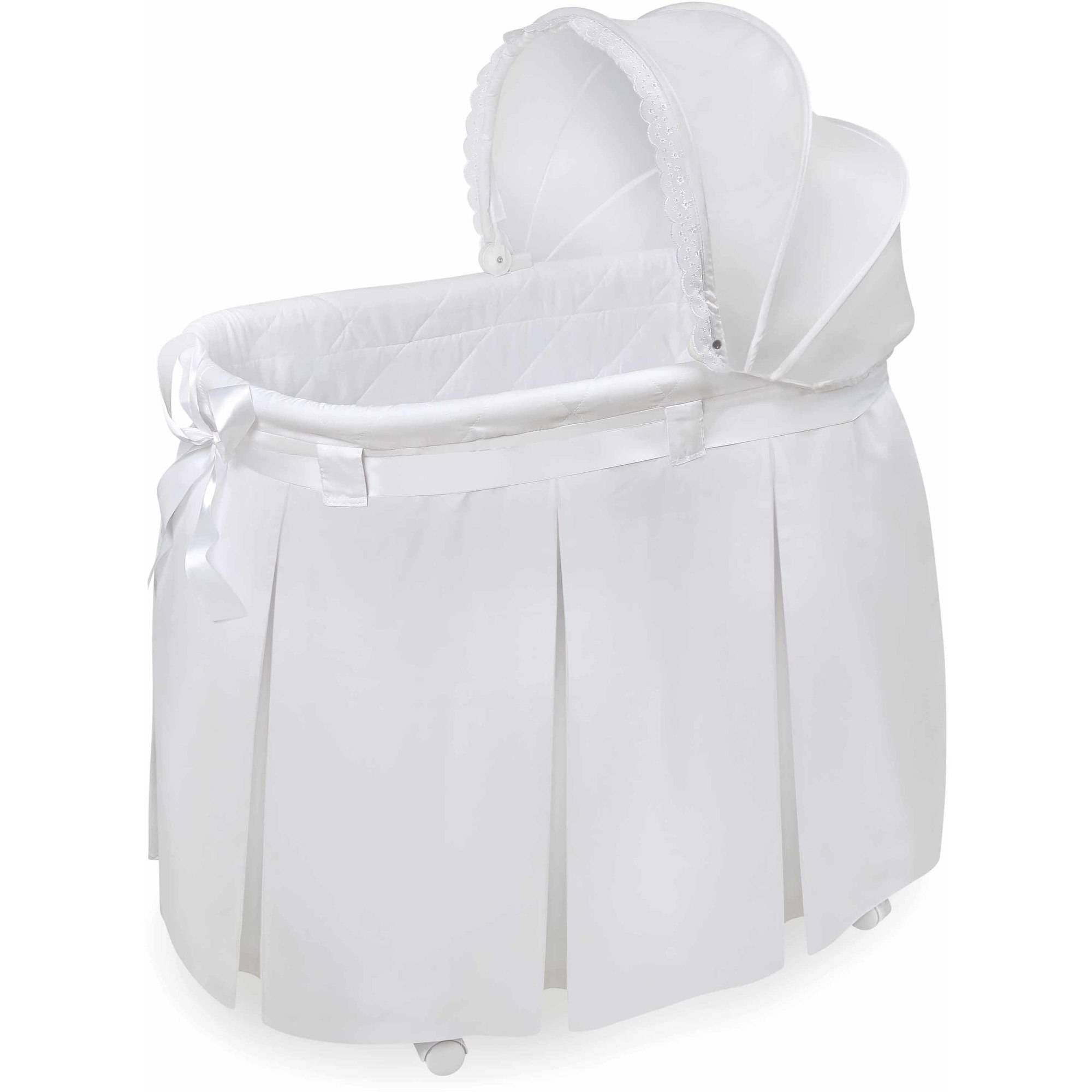 Click here to buy Badger Basket Wishes Oval Bassinet, White by Badger Basket.