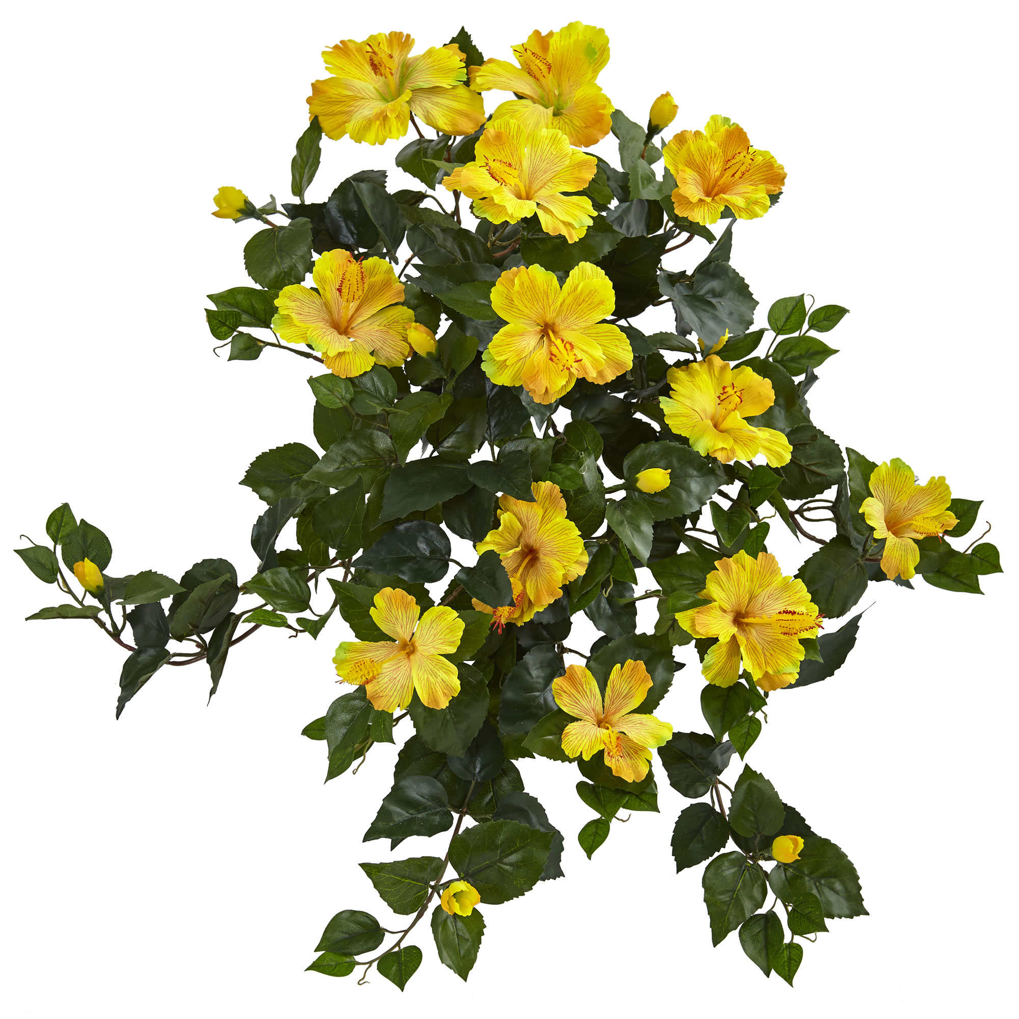 """Nearly Natural 24"""" Hibiscus Hanging Artificial Plant (Set of 2)"""