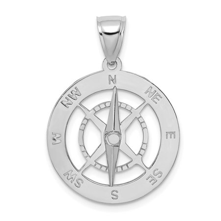 14k White Gold NAUTICAL COMPASS w/MOVEABLE NEEDLE Charm (4.01 gram)