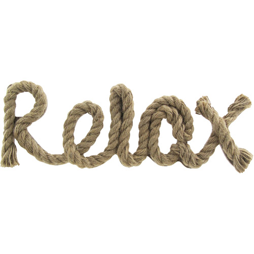 """Rope Words """"Relax"""" 13.75"""" x 5"""", Brown"""
