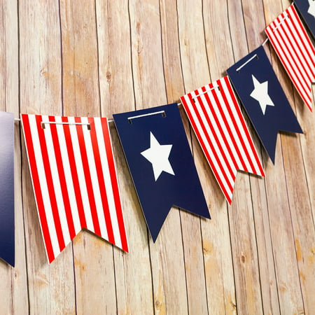 4th of July Red, White and Blue Guidon Flag Pennant Banner Garland (11FT) - Halloween School Party Ideas 4th Grade