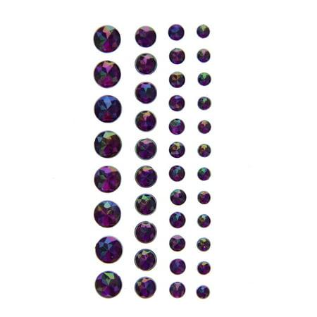 Craft Foam Stickers - American Crafts DCWV Iridescent Gem Foam Stickers - Self-Adhesive, Acid-Free, Assorted Sizes - Purple, 42 Pieces