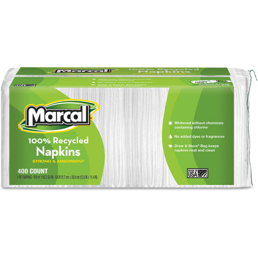 Marcal Small Steps 100 Percent  Premium Recycled White Luncheon Napkins, 400 Count