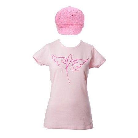 Breast Cancer Awareness Kit - Winged Ribbon T-Shirt + Bedazzled Newsboy - 2X - image 1 de 1