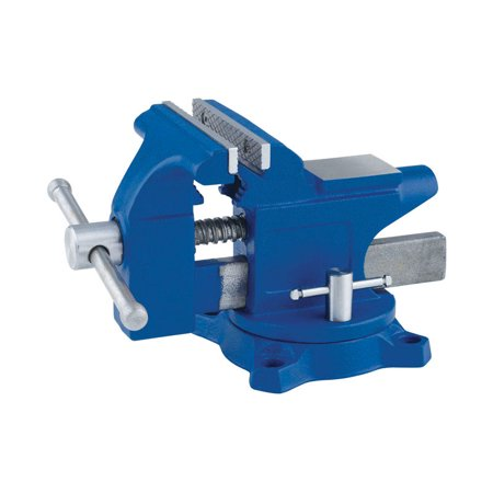 Irwin 4.5 in. Steel Workshop Bench Vise Blue Swivel