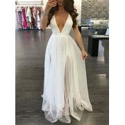 Women Vintage Lace Long Maxi Dress Cocktail Evening Wedding Party Formal Dress White L