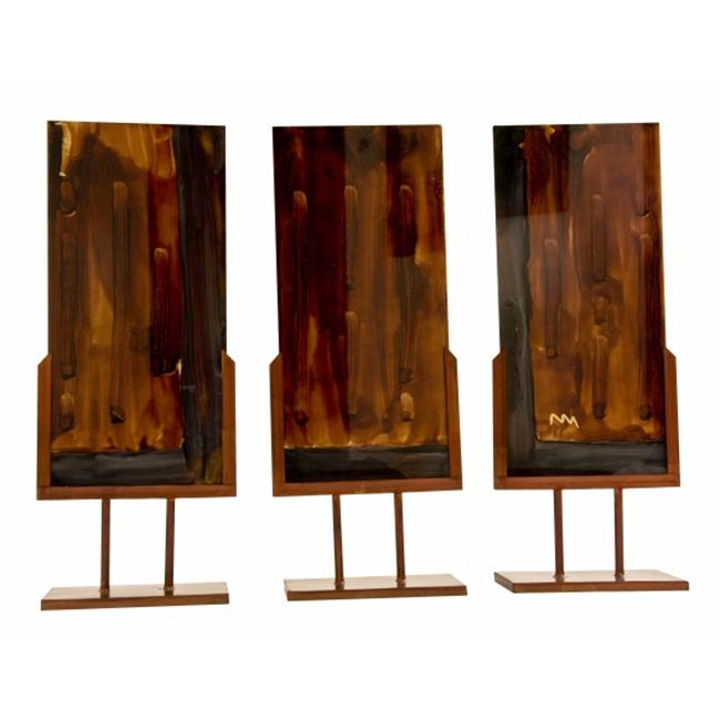Space Enterprises AG-716 Handmade Blown Glass Set of 3 Sculptural Panels with Iron Standswith Thorn in Autumn Shades