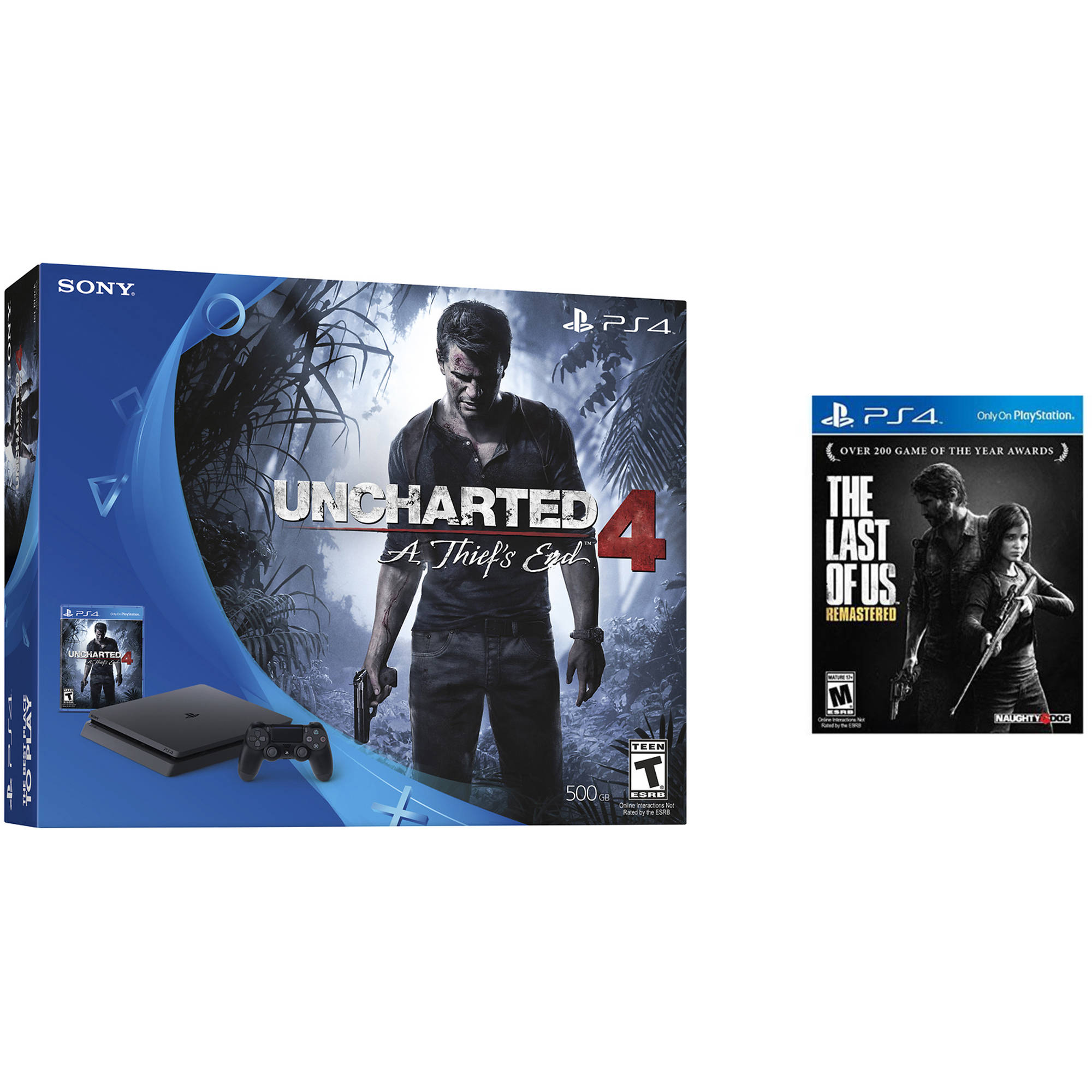 Image of Sony PlayStation 4 Kit 500GB Slim Uncharted 4 and The Last of Us Remastered Bundle