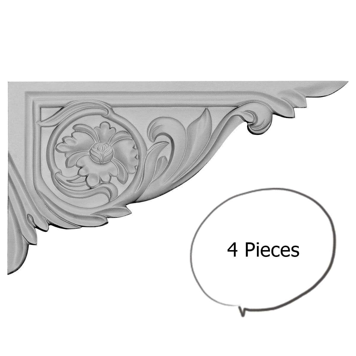China by WI Rose Stair Brackets Right 4-pieces
