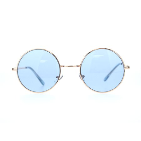 Mens Pop Color Hippie Round Circle Lens Metal Rim Sunglasses Gold (Color Circle Lenses)